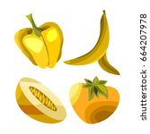 vector fruits and vegetables on ... | Shutterstock .eps vector #664207978