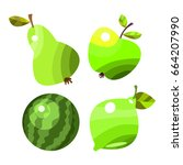 vector fruits and vegetables on ... | Shutterstock .eps vector #664207990