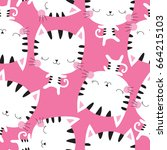 Seamless White Cat Pattern...