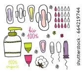 feminine hygiene doodle icon set | Shutterstock .eps vector #664219744