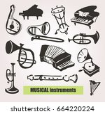 hand drawn doodle musical... | Shutterstock .eps vector #664220224