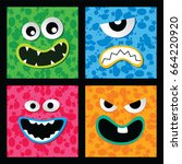 colorful monster character face ... | Shutterstock .eps vector #664220920