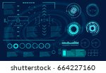 futuristic virtual graphic... | Shutterstock .eps vector #664227160