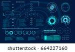 futuristic virtual graphic... | Shutterstock .eps vector #664227160