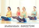 pregnancy  sport  fitness ... | Shutterstock . vector #664227244