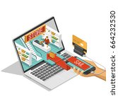 online shopping isometric... | Shutterstock .eps vector #664232530