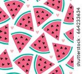 seamless melon pattern vector... | Shutterstock .eps vector #664233634