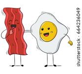 funny bacon and egg yolk. flat... | Shutterstock .eps vector #664236049