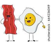 funny bacon and egg yolk. flat... | Shutterstock .eps vector #664236049