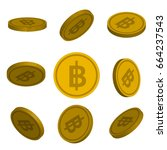 Flat Cartoon Gold  Coins With...