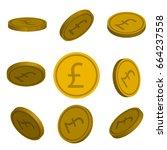 flat cartoon gold coins with... | Shutterstock .eps vector #664237558