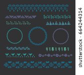 collection of vector graphic... | Shutterstock .eps vector #664244314