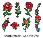 bright roses set | Shutterstock .eps vector #664246990