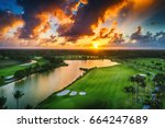 aerial view of tropical golf...   Shutterstock . vector #664247689
