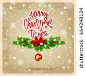 greeting card with wreath. ... | Shutterstock .eps vector #664248124
