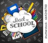 blackboard background with... | Shutterstock . vector #664248700