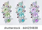 set of sketches of multicolored ... | Shutterstock . vector #664254838