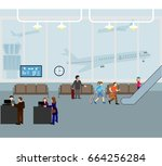 people at airport vector travel ... | Shutterstock .eps vector #664256284