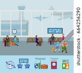 people at airport vector travel ... | Shutterstock .eps vector #664256290