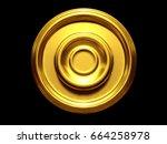 golden  blank frame relief  3d... | Shutterstock . vector #664258978
