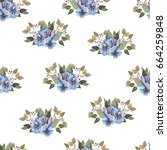 watercolor pattern of flowers... | Shutterstock . vector #664259848