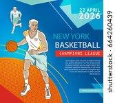 basketball flyer   poster cover ... | Shutterstock .eps vector #664260439
