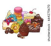 pile  heap of various cakes ... | Shutterstock .eps vector #664275670