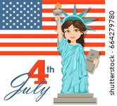 july fourth. statue of liberty. ...   Shutterstock .eps vector #664279780