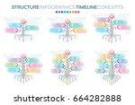 set of tree infographics...   Shutterstock .eps vector #664282888