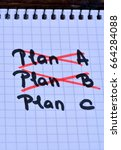 Small photo of Plan A Plan B and Plan C on notebook close-up