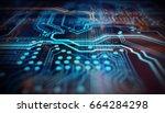 orange and blue technology... | Shutterstock . vector #664284298