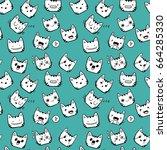 hand drawn cute kawaii cat... | Shutterstock .eps vector #664285330
