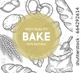 bakery bread shop bake vector...   Shutterstock .eps vector #664292614
