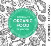farmers market shop organic... | Shutterstock .eps vector #664292620