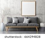 poster with retro sofa ... | Shutterstock . vector #664294828