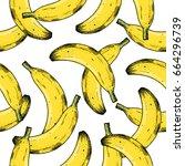banana seamless pattern. fun... | Shutterstock .eps vector #664296739