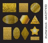 Set Of Golden Mosaic Ceramic...