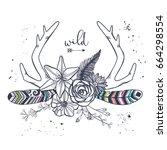vector floral boho antler print.... | Shutterstock .eps vector #664298554