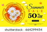 summer sale background banner... | Shutterstock .eps vector #664299454