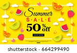 summer sale banner with pieces... | Shutterstock .eps vector #664299490