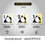 three infographic squares with... | Shutterstock .eps vector #664299910