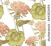 seamless floral pattern. green... | Shutterstock .eps vector #664302454