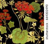 seamless floral pattern. green... | Shutterstock .eps vector #664302490