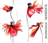 seamless pattern of poppies...   Shutterstock . vector #664302676
