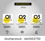 three infographic squares with... | Shutterstock .eps vector #664303750