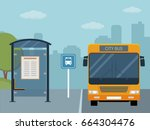 picture of bus on the bus stop. ... | Shutterstock .eps vector #664304476