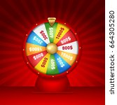 realistic 3d spinning fortune... | Shutterstock .eps vector #664305280