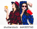 young hipster girls having fun... | Shutterstock . vector #664305760