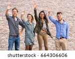 group of young friends waving... | Shutterstock . vector #664306606
