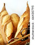 french bread in basket - stock photo